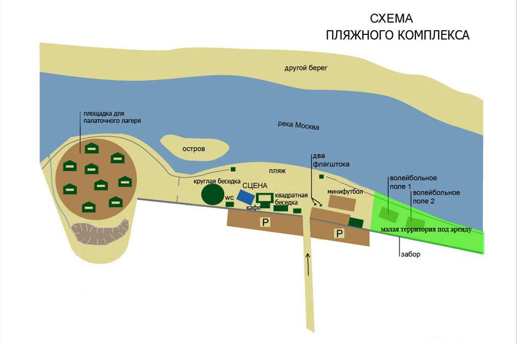 схема пляжа Солнечная поляна